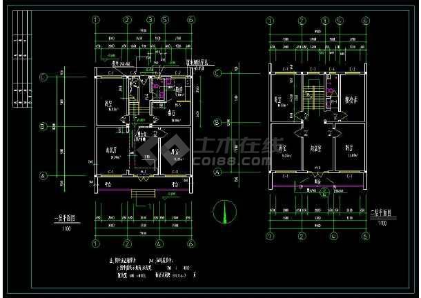 某地小康生活住宅建筑设计全套cad施工图(含设计说明)-图2