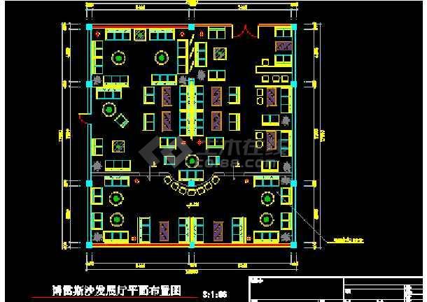 某城市沙发家具展厅室内装修cad施工图-图1