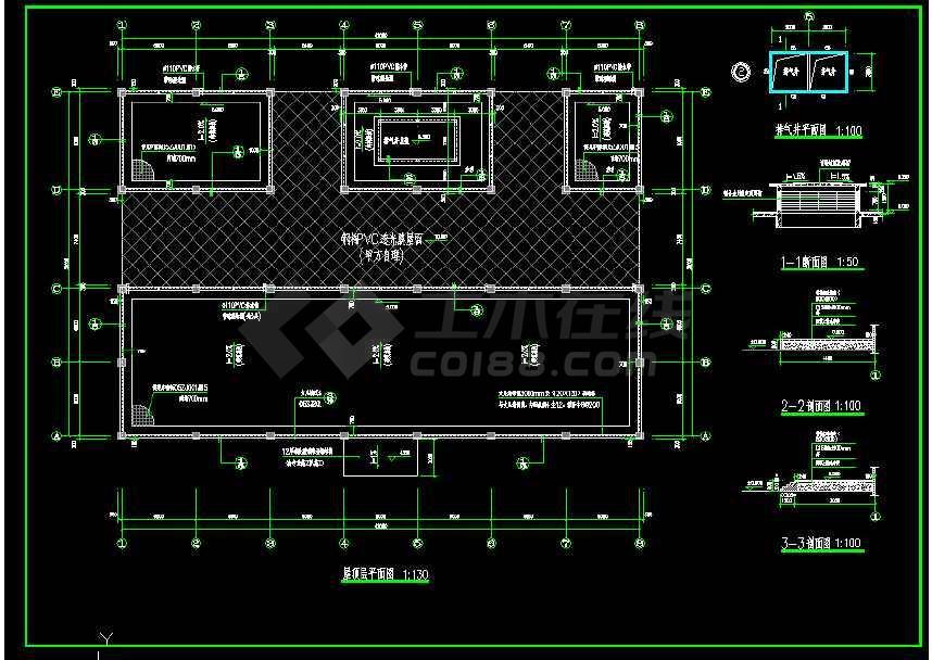 某地小型简单食堂建筑cad图(共6张)-图2