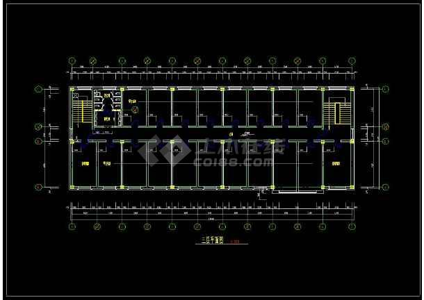 某学生宿舍楼建筑图整套cad设计图-图2