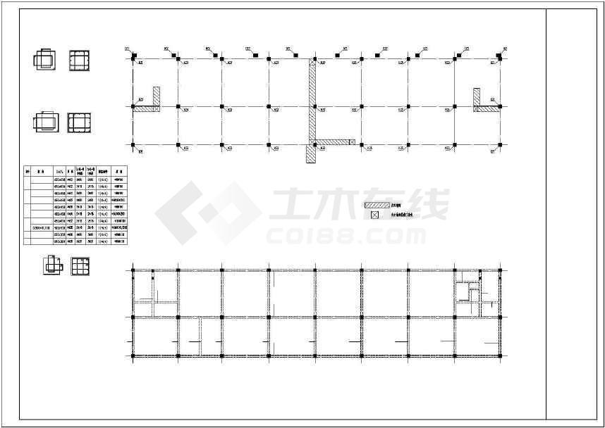 某地一套3层框架宿舍结构施工图纸-图2