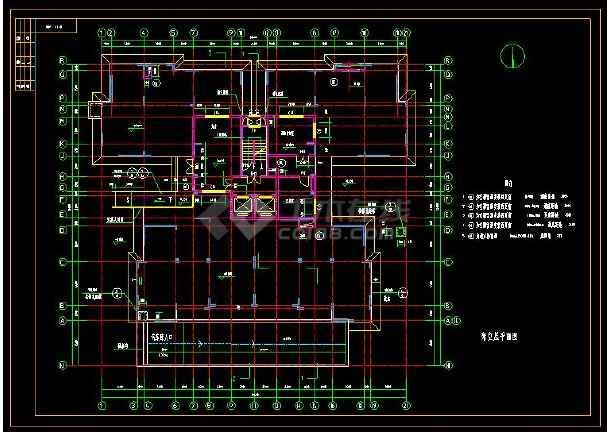 某小区高层住宅楼建筑设计cad全套施工图-图3