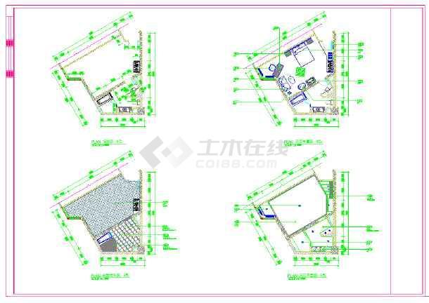 某高档五星级标准客房设计施工CAD图-图1