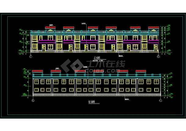 某地联排住宅楼建筑设计cad施工图-图1