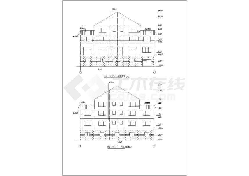 一套精美的四层框架住宅结构施工图-图3