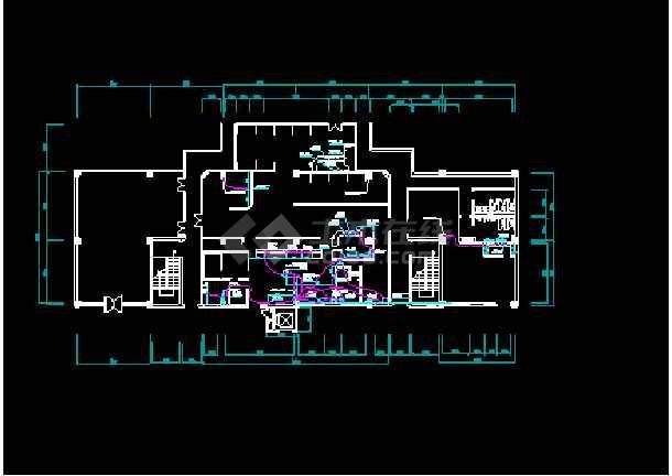 某地西餐厅全套室内装修CAD平面布置施工图纸-图3
