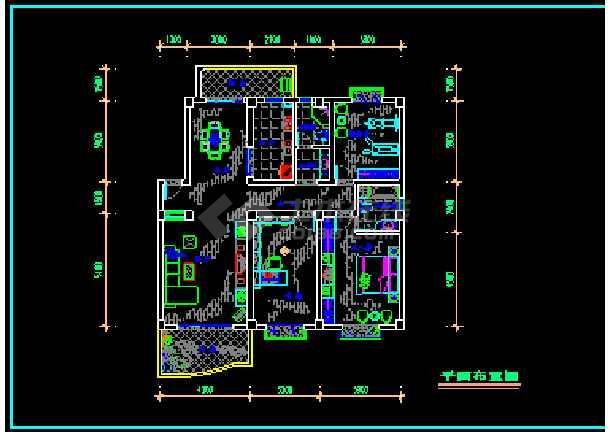 某居家双卧工艺朝南户型室内家装设计cadv工艺振动筛客厅图纸图片