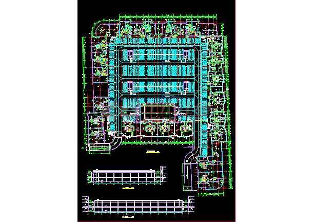 某大型超市车库施工设计平面剖面图图片
