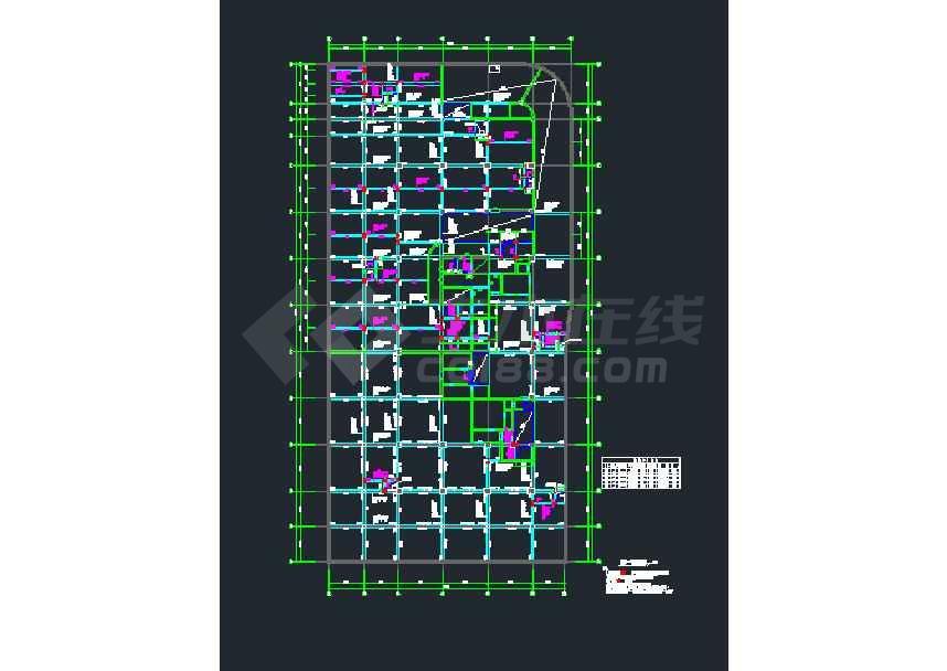 框架核心筒结构住宅楼结构施工图(甲级设计院,19层)