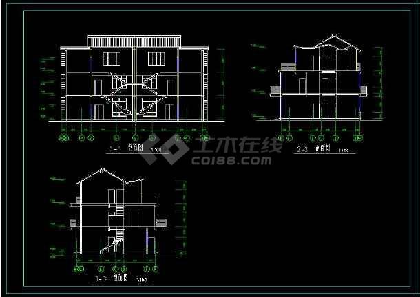 某住宅项目两套多层别墅建筑设计方案cad图集-图1