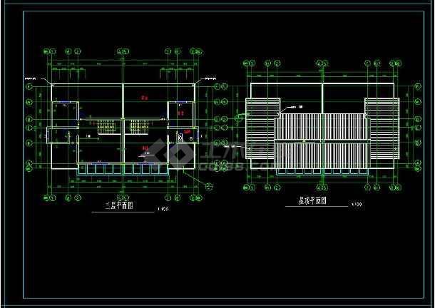 某住宅项目两套多层别墅建筑设计方案cad图集-图2