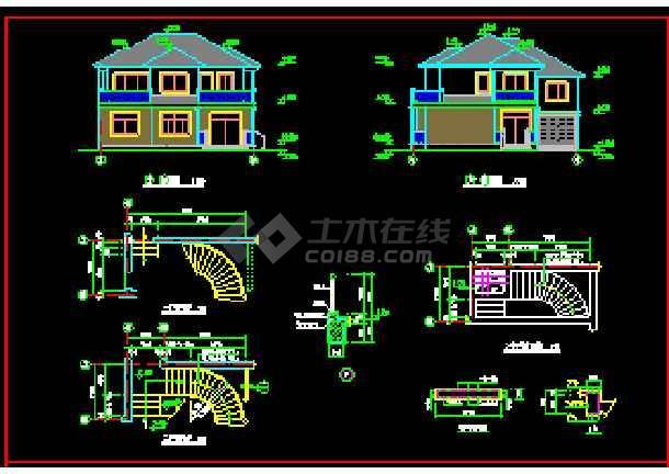全套别墅建筑设计cad平立剖面施工图