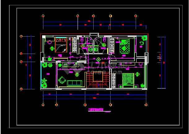 某新农村改造别墅二层房间设计详情图纸