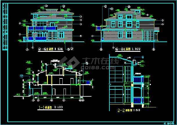 小型别墅建筑施工cad平立剖设计图纸