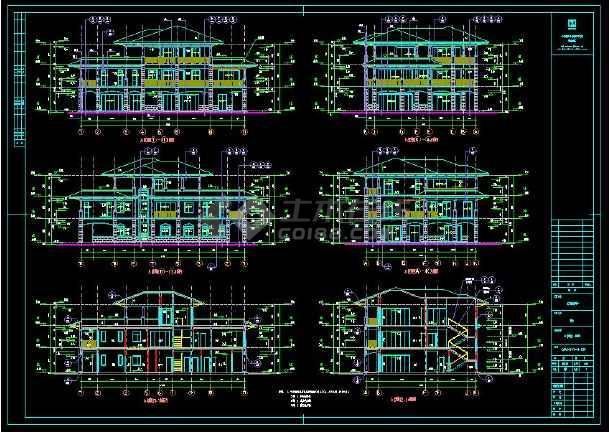 某楼盘项目2套小别墅建筑设计cad方案图集-图3