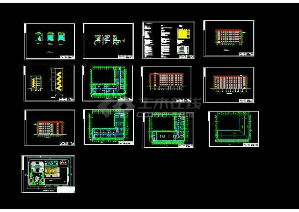 21套、多层办公楼建筑结构cad土木毕业设计(含计算书、建筑、结构图、PKPM模型、施工组织、进度计划表、CAD横道图)-图2