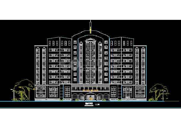 某大酒店设计施工建筑CAD平立面图(总图)-图3