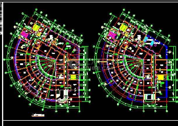 某新酒店建筑CAD施工设计平立面图纸-图2