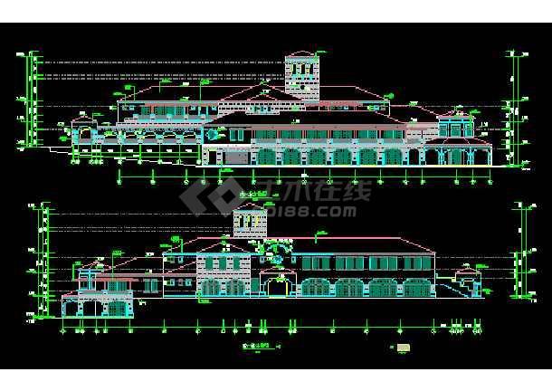某高级会所设计详细施工CAD建筑平立面图纸-图3