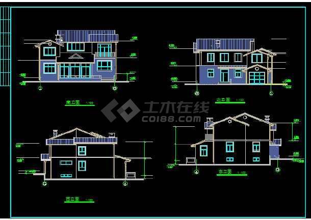 一套简单的别墅建筑方案图纸(共6张)-图2