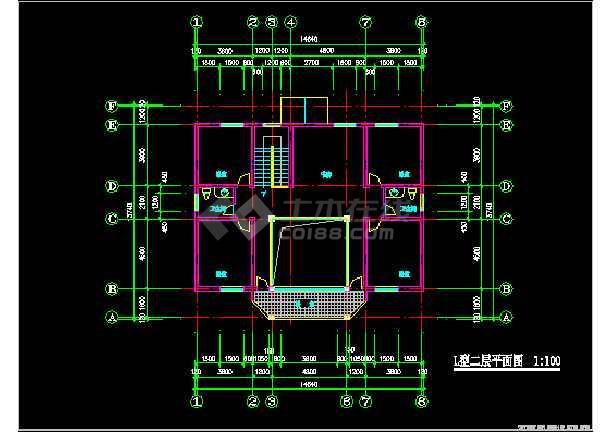 一套农庄L型别墅建筑施工图纸(共7张)-图2