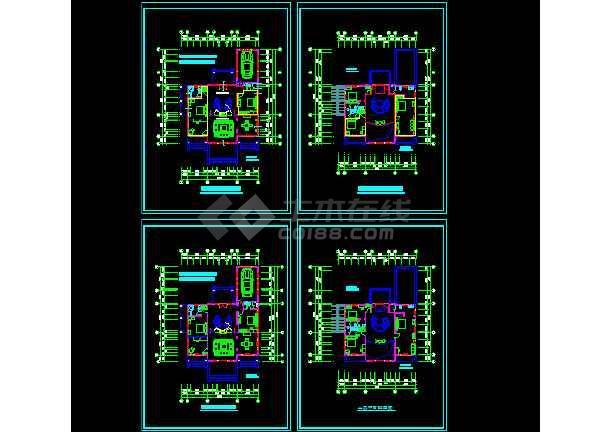 一套二层别墅建筑施工图纸(共9张)-图1