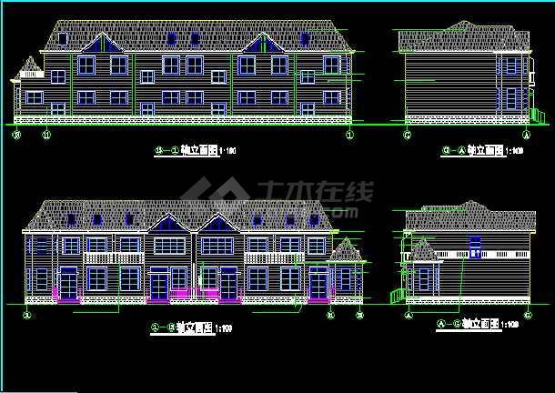 一套多层现代别墅建筑施工图纸(全套)-图1