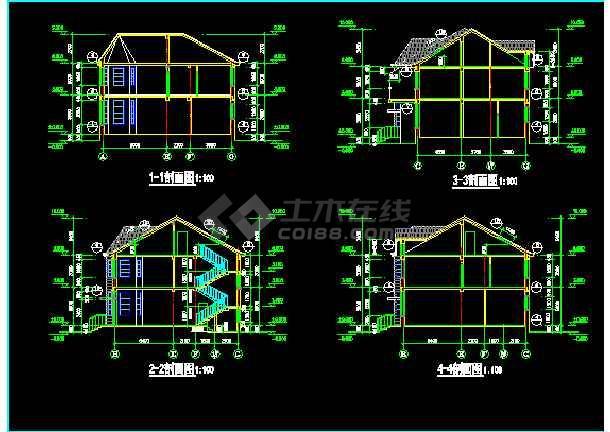一套多层现代别墅建筑施工图纸(全套)-图3