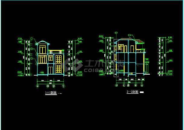 一套比较详细的现代别墅建筑施工图纸-图1