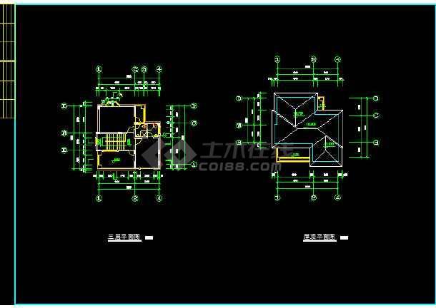一套比较详细的现代别墅建筑施工图纸-图3