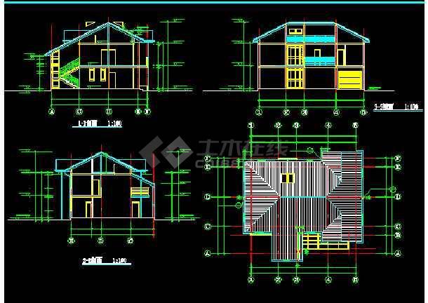 某地现代风格别墅建筑图纸(共9张)-图3