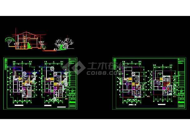 一套多种风格的豪华别墅建筑施工图纸-图1