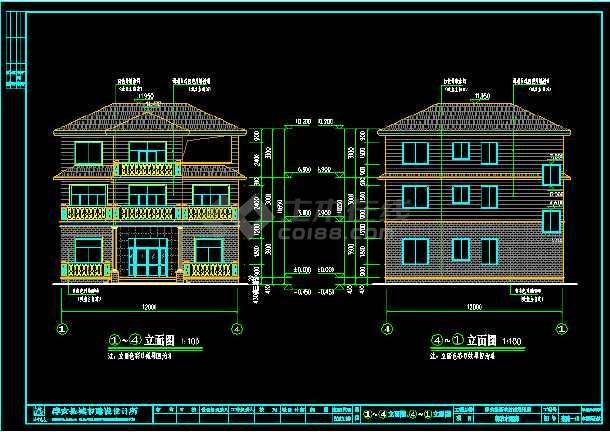 某地豪华别墅建筑cad设计结构施工图-图3