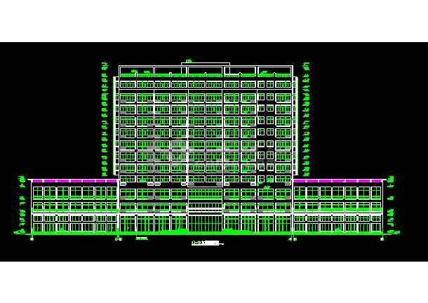 某市娱乐城大厦CAD建筑设计施工平立剖图纸-图1