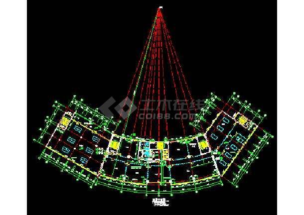 某市娱乐城大厦CAD建筑设计施工平立剖图纸-图3