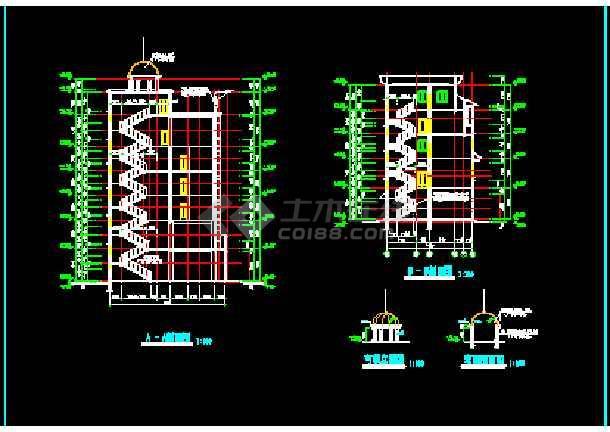 滨江新区新桥村某小区会所建筑CAD设计施工图纸-图3