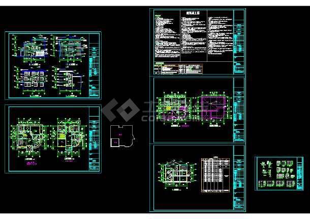 某豪华别墅cad设计建筑结构水电全套施工图-图2