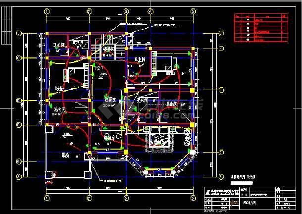 某三层别墅cad设计建筑结构电图全套图-图3