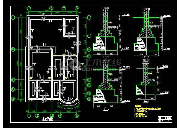 某时尚三层别墅cad设计建筑结构图带效果图-图3