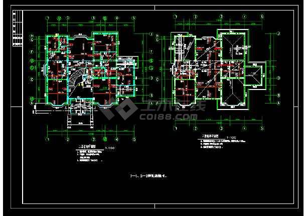 某市郊区三层别墅cad建筑结构设计图-图1