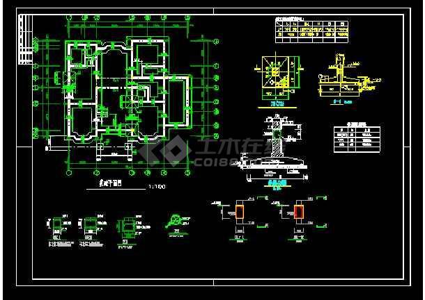 某市郊区三层别墅cad建筑结构设计图-图2
