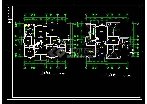 某市郊区三层别墅cad建筑结构设计图-图3