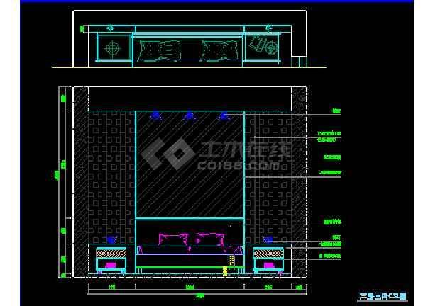 某地方某全套室内设计装修cad施工平立面图纸-图3