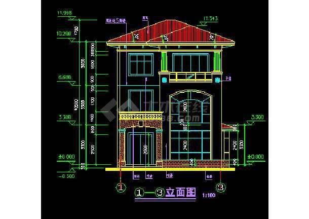 某小区水岸豪宝石A型别墅设计CAD图纸-图3
