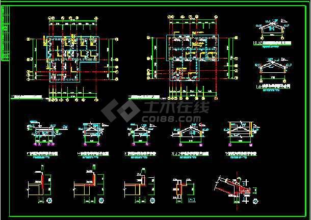 中国某市古典别墅施工图建设CAD图纸-图3