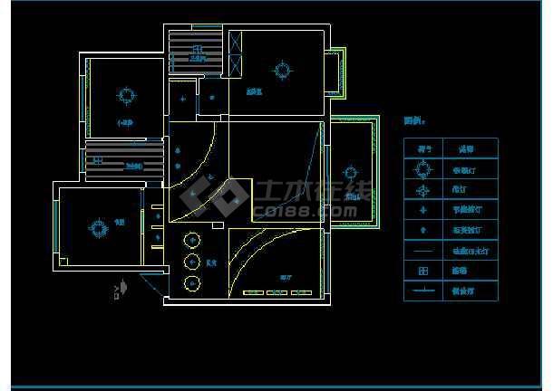 某小区别墅电气照明布线设计方案图-图3