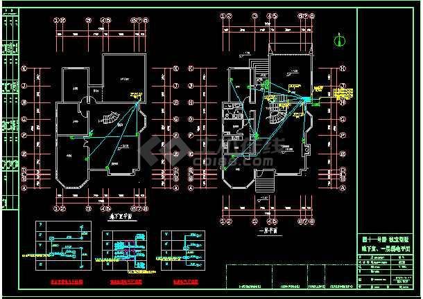 某小区3层独立别墅照明银河娱乐官网图CAD图纸-图1