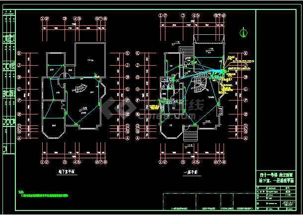 某小区3层独立别墅照明银河娱乐官网图CAD图纸-图2