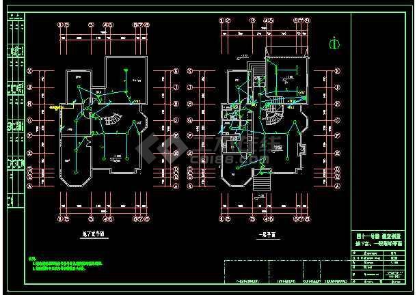 某小区3层独立别墅照明银河娱乐官网图CAD图纸-图3