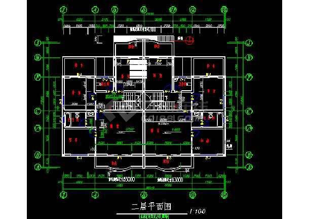 某小区三层双拼别墅施工图ACAD图纸-图2